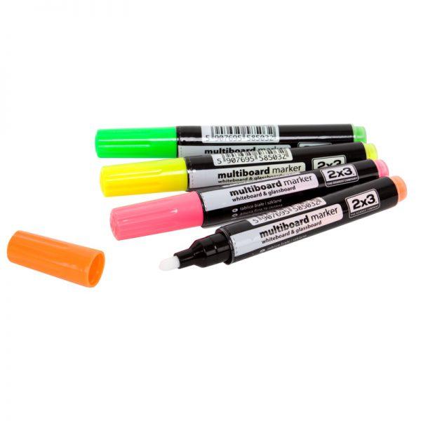 Markery do tablicy szklanej kredowe fluorescencyjne 4 kolory