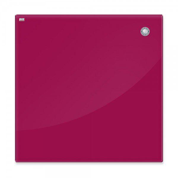 tablica szklana magnetyczna czerwona 45x45cm zaokraglone narozniki bezpieczne szklo esg