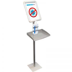 stojak na płyn dezynfekujący stojak do dezynfekcji rąk z półką i ramką informacyjną