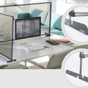 Osłona ochronna na biurko z pleksi w ramie z regulacją wysokości, ścianka ochronna na biurko lub ladę