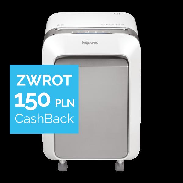 Niszczarka Fellowes LX211 biała + Zwrot 150 zł w promocji CashBack od Fellowes